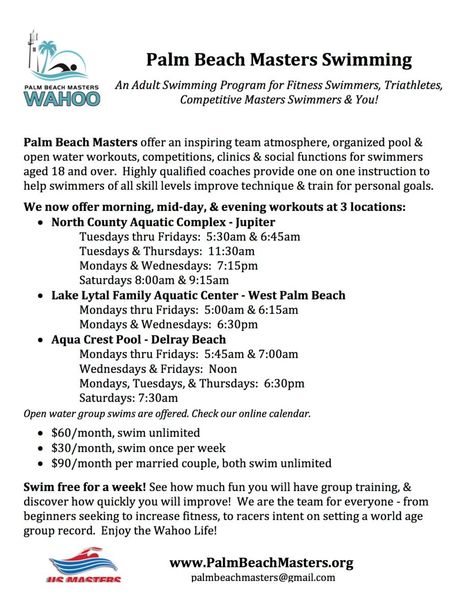 Palm Beach Masters Informational Flyer
