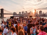 sunset view of lower Manhattan from party boat